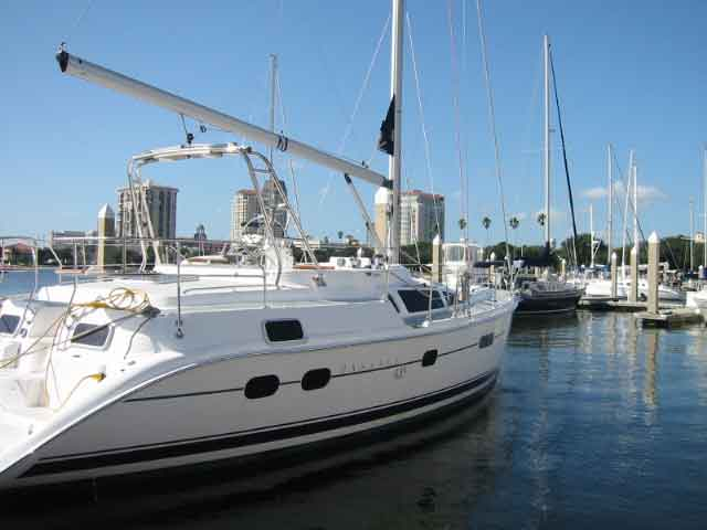 As a brand new boat, she didn't have many of the extras, like an Autopilot, ...